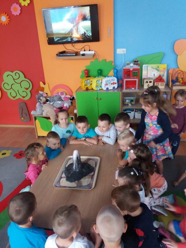 dzieci obserwują wulkan